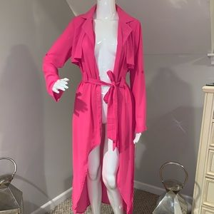 "hot pink light weight sheer ""Trenchcoat"""